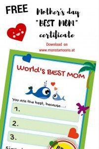 Muttertagsurkunde,  BEST MOMcertificate Pinterest
