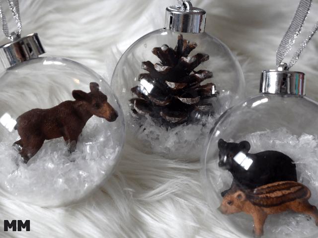 DIY Weihnachtskugeln mit Schleichtieren
