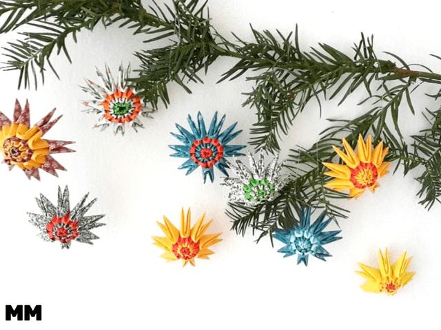Origami Sterne für den Weihnachtsbaum