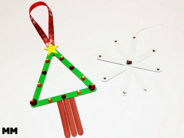 Aus Bastelstäbchen Weihnachtsbaumanhänger machen