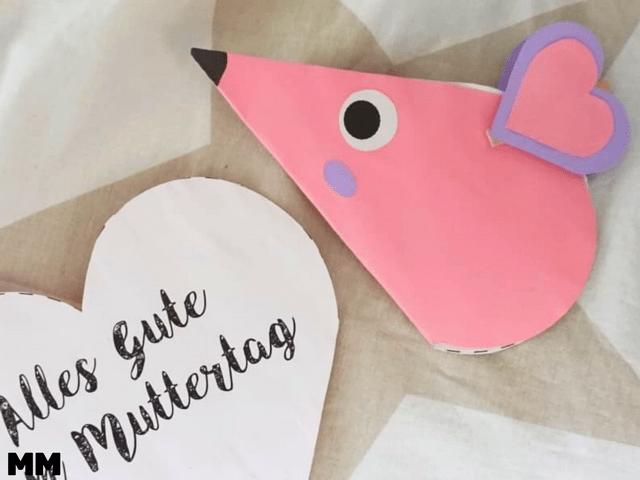 """Muttertagskarte """"Maus"""" – einfache Idee für kleine Kinder"""