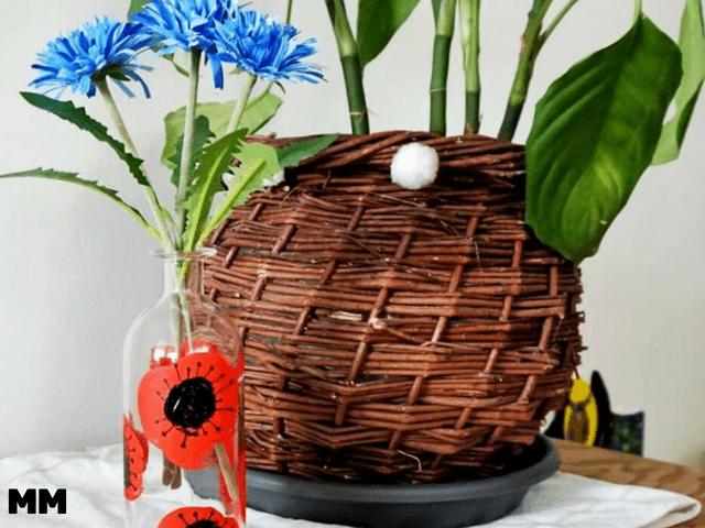 Upcycling Vase mit Mohnblumen