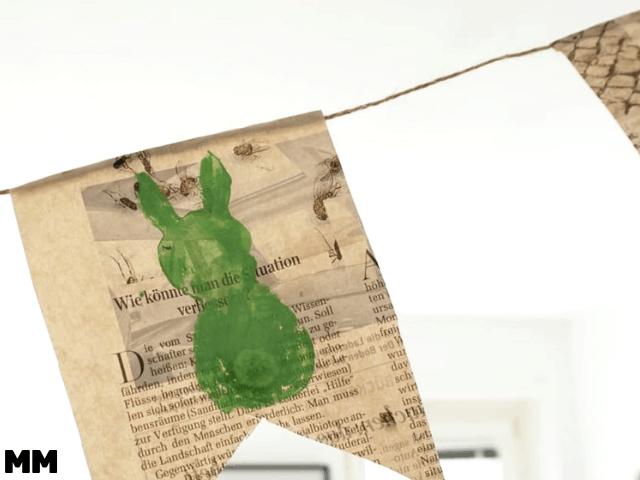 Frühlingshafte Häschen Girlande aus Zeitungspapier