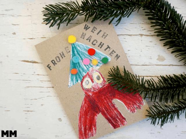 Einfache Weihnachtskarte mit Kindern basteln