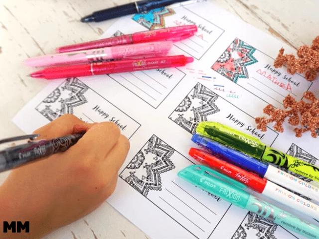 ANZEIGE – Back to School mit hübschen Etiketten zum Ausdrucken und Stiften der FriXion Family der Marke PILOT