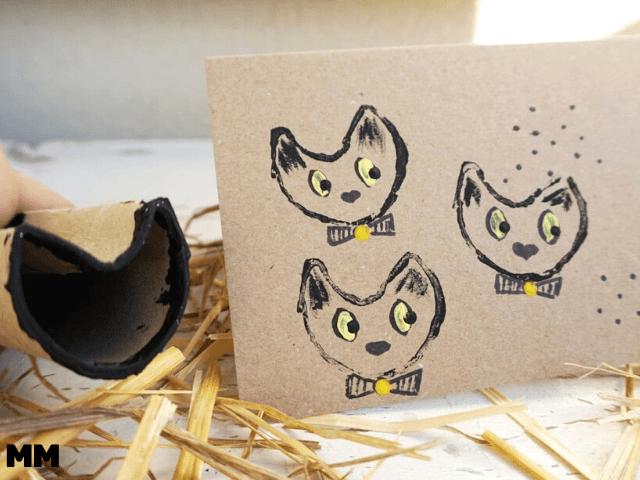 So stempelst du mit Klopapierrollen niedliche Katzen-Formen