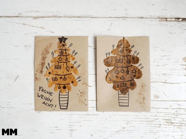 Einfache Weihnachtskarten mit Blättern gestalten und weitere Ideen